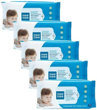 Mee Mee Caring Baby Wet Wipes Lemon Fragrance (72 Pieces)(Pack of 5)