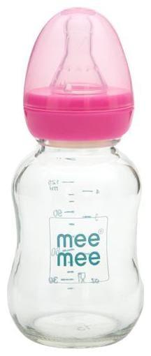 Mee Mee Feeding Bottle - Premium Glass, Pink 125 ml