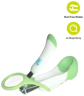 Mee Mee Gentle Nail Clipper With Magnifier (White/Green)