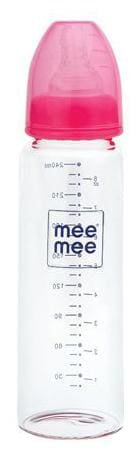 Mee Mee Premium Glass Feeding Bottle - Pink 240 ml