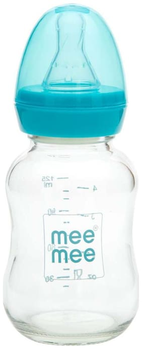 Mee Mee Premium Glass Feeding Bottle (Blue) 120 ml