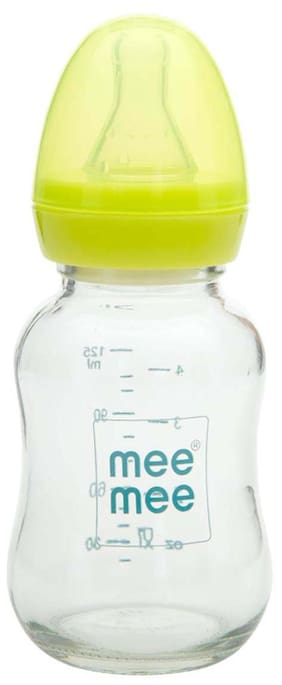 Mee Mee Premium Glass Feeding Bottle (Green) 120 ml