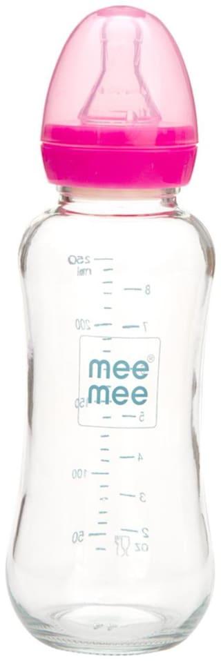 Mee Mee Premium Glass Feeding Bottle (Pink) 250ml