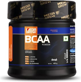 Megagrow BCAA Supplement Powder| 400 Gm/44 Servings | Pre/Post Workout & Intra Workout Supplement| 5.74g Protein | Orange Flavour With No Sugar Added