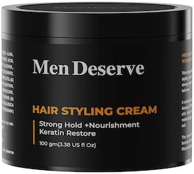 Men Deserve Hair Styling Cream (Strong Hold + Nourishment) Keratin Restore 100g (Pack of 1)