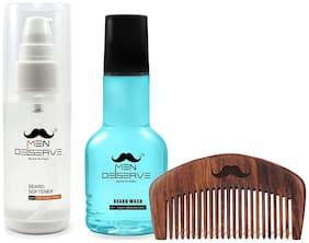 MEN DESERVE Daily Beard Care Combo of Beard Softener (60ml), Beard Wash (60ml) and Sheesham Wooden Beard Comb