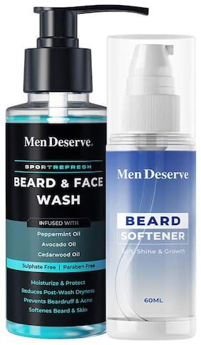Men Deserve Combo of Beard Softener 60 ml with Beard & Face Wash 100 ml for soft and shiny beard hair (Pack Of 2)