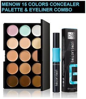Menow Combo of 15 colors Concealer Palette 15g and Long Lasting Eyeliner 3.5g