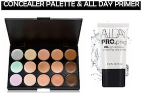 MENOW Combo of 15 Colors Concealer Palette 15g + All Day Primer 15ml(Pack of 2)
