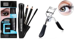 MeNow Volumising Mascara 10ml, Black &  Brown Eyebrow Pencils(1g each) &  Eyelash Curler 15g (Pack of 4)