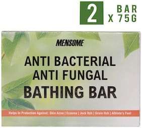 Mensome Anti Bacterial Bathing Soap Bar Helps In Fighting Skin Infections, Acne, Itching And Made Up Of Natural Oils And Herbs 75 gm (Pack of 2)