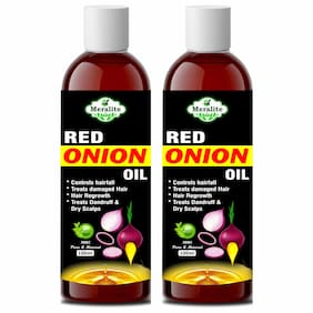 Meralite 100% Organics Red Onion Herbal Hair oil (100ml) (Pack of 2)