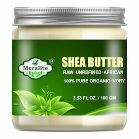 Meralite 100% Pure Ivory Shea Butter Raw Unrefined African-Helpful on Face,Body,Skin & Lips (100 g)