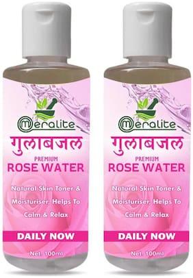Meralite 100% Organic & Natural Premium Rose Water For Face & Skin (No Alcohol;Chemical & Paraben Free ) (100 ml) (Pack of 2)