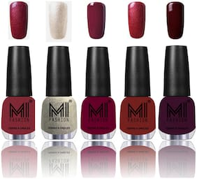 MI Fashion Brilliant Long Lasting 5 Nail Polish Colors at Your Fingertips(Metallic Red;Gold;Ginger Rust;Light Wine;Lava Lust;Wine Maroon)