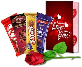 Midiron Valentine's Day Gifts, I Love You Greeting Card |Artificial Rose | Chocolate Bar (Pack of 3) 112g
