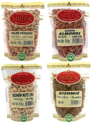 Miltop Dry Fruits California Almond 500 g, Cashew 500 g, Pista Salted 500 g & kishmish 250 g (Pack of 4)