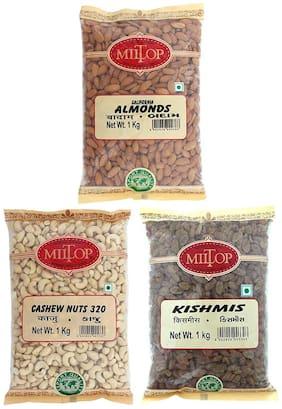 Miltop Dry Fruits California Almond 1 kg, Cashew 1 kg & kishmish 1 kg (Pack of 3)