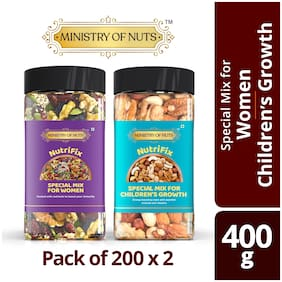 Ministry Of Nuts Combo Pack of Nutrifix Special Mix For Women & Special Mix for Children growth Trailmix, Packed With Nutrients
