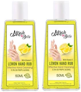 Mirah Belle - Lemon Hand Rub Sanitizer (With Vitamin E) -(72.9% Alcohol) - FDA Approved - Best for Men Women and Children 50 ml Pack of 2