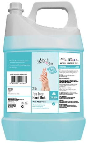 Mirah Belle - Tea Tree, Aloe Vera - Hand Rub Sanitizer Gel Can FDA Approved - 72.9% Alcohol - Best for Men, Women and Children Refill Pack 2 L Pack of 1