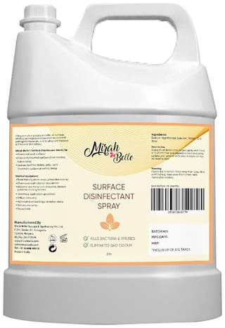 Mirah Belle - Surface Disinfectant Can (2 L) - Hard and Soft Surfaces - Advanced Cleaner and Sanitizer - Large Bulk Pack - Best for Home;Offices;Door Handles;Cars and Bathrooms (Pack of 1)