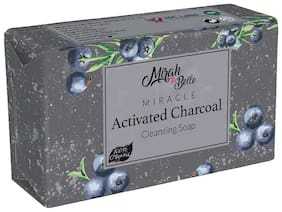 Mirah Belle - Activated Charcoal Soap Bar (125 g) - Clogged Pores, Blackheads, Discoloured & Infection Prone Skin. Anti - Pollution. Vegan, Handmade, Cruelty Free, SLS, Paraben, GMO-Free.