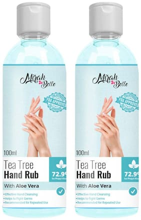 Mirah Belle Tea Tree Aloe Vera Hand Rub Sanitizer (72.9% Alcohol) - FDA Approved Natural, Vegan, Herbal, Sulfate and Paraben Free (100ml) (Pack of 2)
