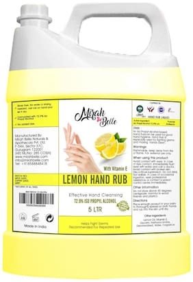 Mirah Belle - Lemon Hand Rub Sanitizer Liquid Can (With Vitamin E) -Vegan, Cruelty Free - Hand Cleanser Refill Pack -5L