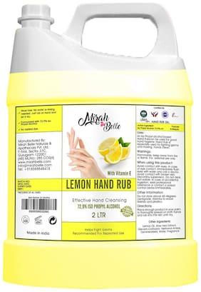 Mirah Belle - Lemon Hand Rub Sanitizer Gel Can (With Vitamin E) -Vegan, Cruelty Free - Hand Cleanser Refill Pack - 2L