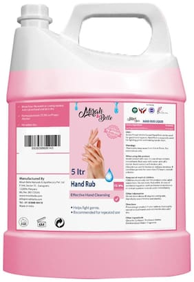 Mirah Belle FDA Approved - Hand Rub Sanitizer Liquid (5L) - Refill Pack - 72.9% Alcohol -Sulfate & Paraben Free