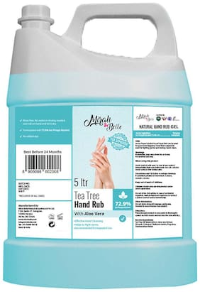 Mirah Belle - Tea Tree, Aloe Vera - Hand Rub Sanitizer Gel Can FDA Approved - 72.9% Alcohol - Best for Men, Women and Children Refill Pack 5 L Pack of 1