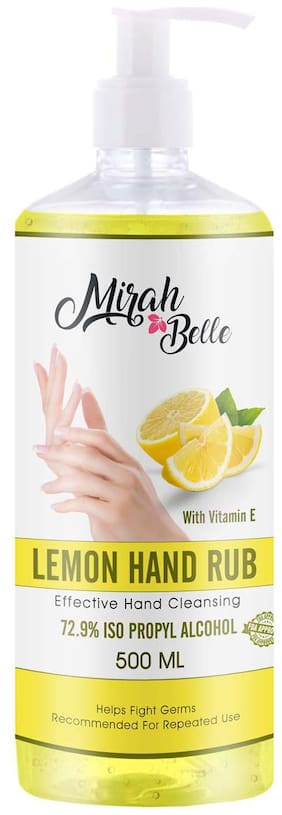 Mirah Belle - Lemon Hand Rub Sanitizer with Vitamin E -(72.9% Alcohol) - FDA Approved - Best for Men, Women and Children 500 ml Pack of 1