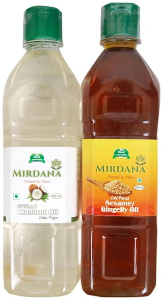 Mirdana Cold Pressed Coconut Oil 500ml And Cold Pressed Gingelly Oil 500ml (Pack of 2)