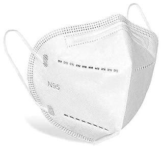 Misaki N95 5 Layer Reusable Washable Mask Anti Air Pollution Anti Dust Face Mask With Certified with CE, ISI & FDA Non woven White (Pack of 5)