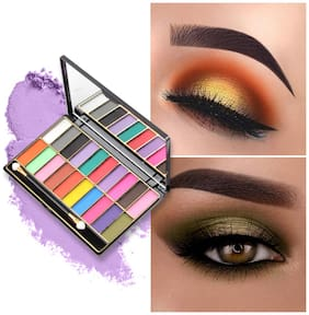 Miss Rose 3D 20 Color Shiny Tropical Beauty Textured EyeShadow Multicolor Makeup Applicator Palette  7001-323MY02