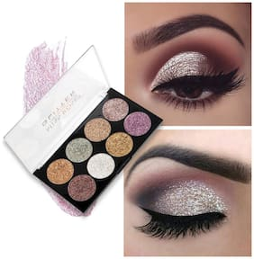 Miss Rose 8 Shades Glitter Eyeshadow Cosmetic Highly Pigmented Palette  7001-88