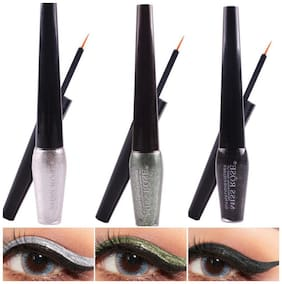 Miss Rose Combo of 3 Shimmer Eyeliners (Shade 1#5#6) 15 ml Pack of 3