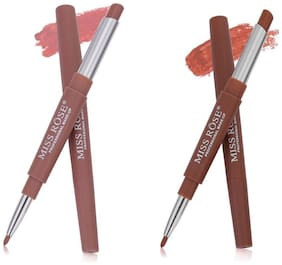 Miss Rose combo of 2 Lip Liner Plus Lipsticks 3 g  (Nude-Coffe)
