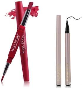 Miss Rose Combo of LipLiner Plus Lipstick and Naked Black Kajal Eyeliner 2.5 g Pack of 2