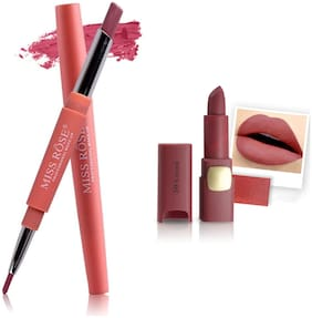 Miss Rose Professional Make-Up Combo of Two Matte Lipstick 5.6g (Nude, Pink)