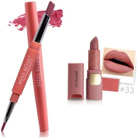 Miss Rose Professional Make-Up Combo of Two Matte Lipstick 5.6g (Peach, Pink)