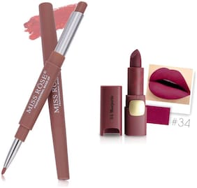 Miss Rose Professional Make-Up Combo of Two Matte Lipstick 5.6g (Magenta, Pink )