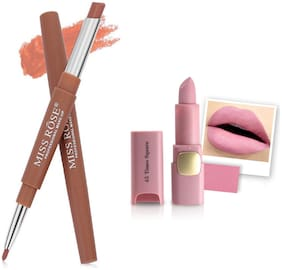 Miss Rose Professional Make-Up Combo of Two Matte Lipstick 5.6g (Brown, Pink )