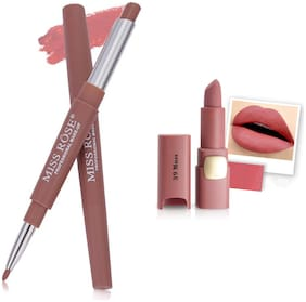 Miss Rose Professional Make-Up Combo of Two Matte Lipstick 5.6g (Pink, Nude )