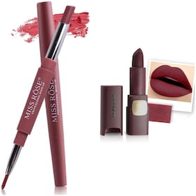 Miss Rose Professional Make-Up Combo of Two Matte Lipstick 5.6g (Brown, Red)