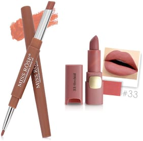 Miss Rose Professional Make-Up Combo of Two Matte Lipstick 5.6g (Brown, Nude )