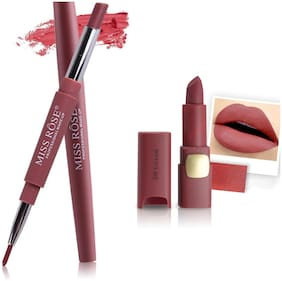 Miss Rose Professional Make-Up Combo of Two Matte Lipstick 5.6g (Brown, Rose)