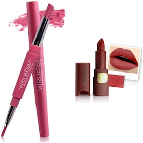 Miss Rose Professional Make-Up Combo of Two Matte Lipstick 5.6g (Pink, Rose)
