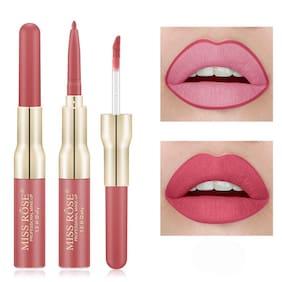 Miss Rose Professional Makeup Long Stay Long Lasting 2 In 1 Waterproof Lipgloss & Lipliner Pink;7ml